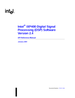 Intel® IXP400 DSP Software, V2.4: Reference Manual